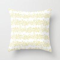 Leafy Stripes  Throw Pillow