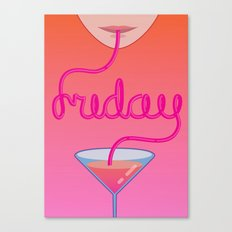 friday cocktail lettering Canvas Print