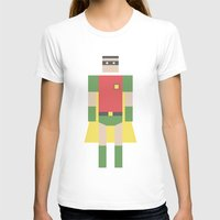 Retro Robin Womens Fitted Tee White SMALL