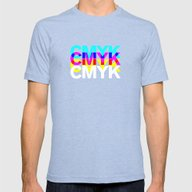 CMYK ON BK Mens Fitted Tee Tri-Blue SMALL
