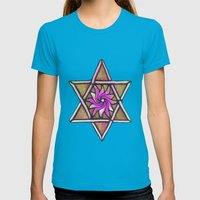 Star of David Womens Fitted Tee Teal SMALL