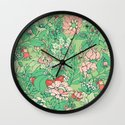 Garden party - sage tea version Wall Clock