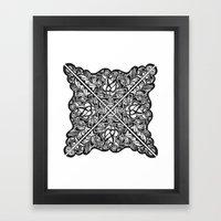 Black Lotus Lace Illustration Pattern Framed Art Print