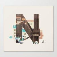 Resort Type - Letter N Canvas Print