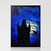 Snowfall At Full Moon Stationery Cards