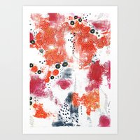 Art Print featuring Orange and Fuschia Abstract by Sarah Ogren