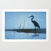Great Blue Heron Fishing Art Print