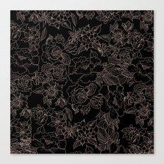 Pink coral tan black floral illustration pattern Canvas Print