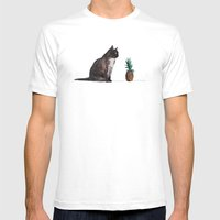 Cat And Pineapple Mens Fitted Tee White SMALL