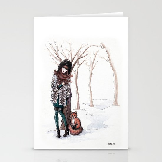 Woodland Frost Stationery Card
