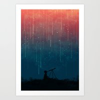 flower Art Prints featuring Meteor rain by Picomodi