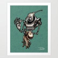 Robot and Octopus Art Print