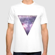 Space Tri White SMALL Mens Fitted Tee
