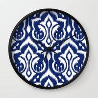Ikat Damask Navy 2 Wall Clock