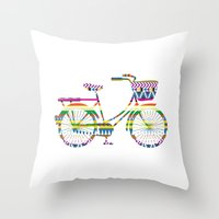 Bicycle with Tribal Pattern Throw Pillow