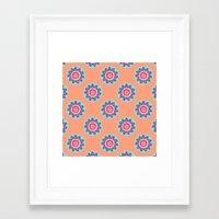 Flower Pattern In Melon Framed Art Print