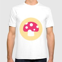 #55 Mushroom Mens Fitted Tee White SMALL