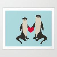 Otter Love Art Print