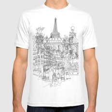 Paris! B&W SMALL Mens Fitted Tee White