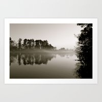 Misty Lake B&W Art Print