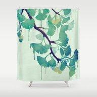 O Ginkgo (in Green) Shower Curtain