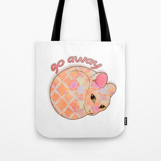 Go Away - Patterned Cat Illustration  Tote Bag