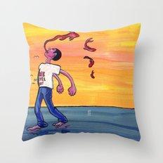 We never joy. Throw Pillow