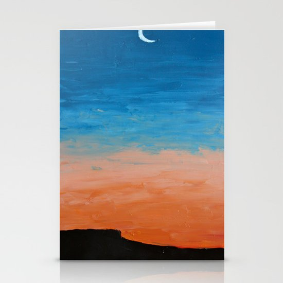 Pre-Dawn Moonrise, painting Stationery Card