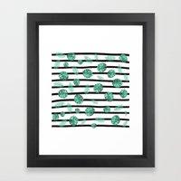 Green watercolor tropical leaf stripes pattern Framed Art Print