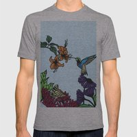 Hummingbird Garden Paper-cut  Mens Fitted Tee Athletic Grey SMALL