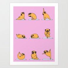 Pug Yoga // Pink Art Print