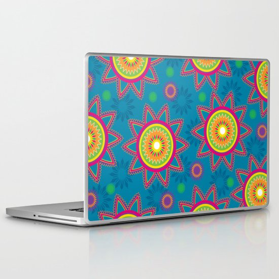 Moroccan Flower Blue Laptop & iPad Skin