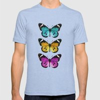 3 colorful butterflies Mens Fitted Tee Tri-Blue SMALL