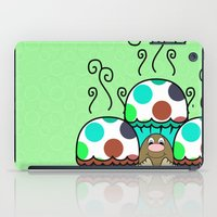 Cute Monster With Cyan And Blue Polkadot Cupcakes iPad Case