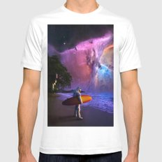 Space Surfer Mens Fitted Tee White SMALL