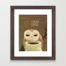 Owl Enjoys Coffee Framed Art Print