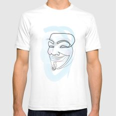 One line mask: V White Mens Fitted Tee SMALL
