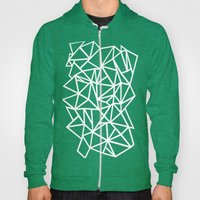 Abstract Outline Thick White on Black Hoody
