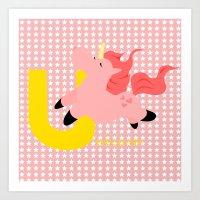 u for unicorn Art Print