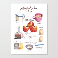 illustrated recipes: apple maple cake Canvas Print