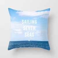 Sailing Seven Seas Throw Pillow