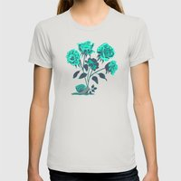 Snails N' Roses Womens Fitted Tee Silver SMALL