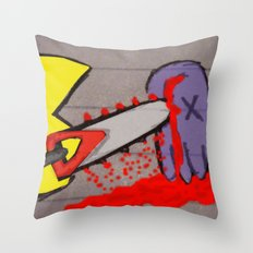 killer pacman Throw Pillow