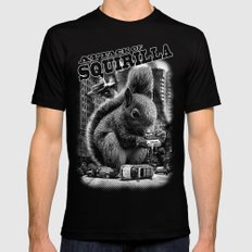 ATTACK OF SQUIRILLA Mens Fitted Tee Black SMALL