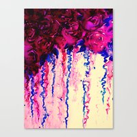 PETALS ON PARADE, Oxblood Marsala Red Royal Blue Floral Abstract Watercolor Roses Flowers Painting Canvas Print