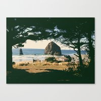 Haystack Rock Through Trees Canvas Print