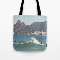Surfing On Ipanema Beach Tote Bag