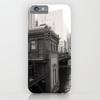 iPhone & iPod Case featuring Black and White Chicago River Boat House Photography by ginaphoto