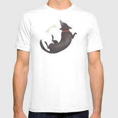 Happy Dog White SMALL Mens Fitted Tee