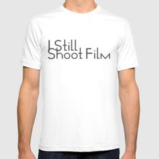 I Still Shoot Film! White SMALL Mens Fitted Tee